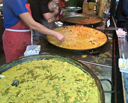Huge vats of spicy curries being prepared