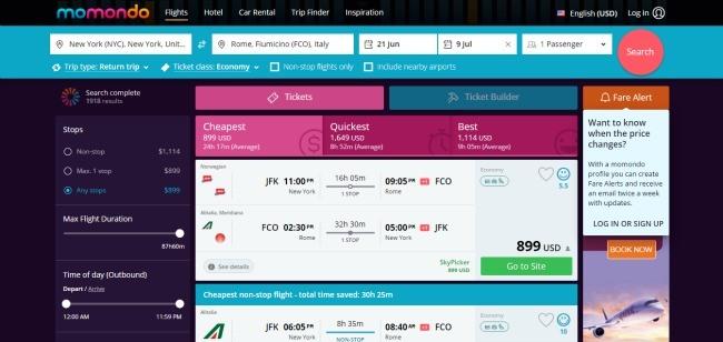 Momondo - Best Websites to Find Cheap Flights