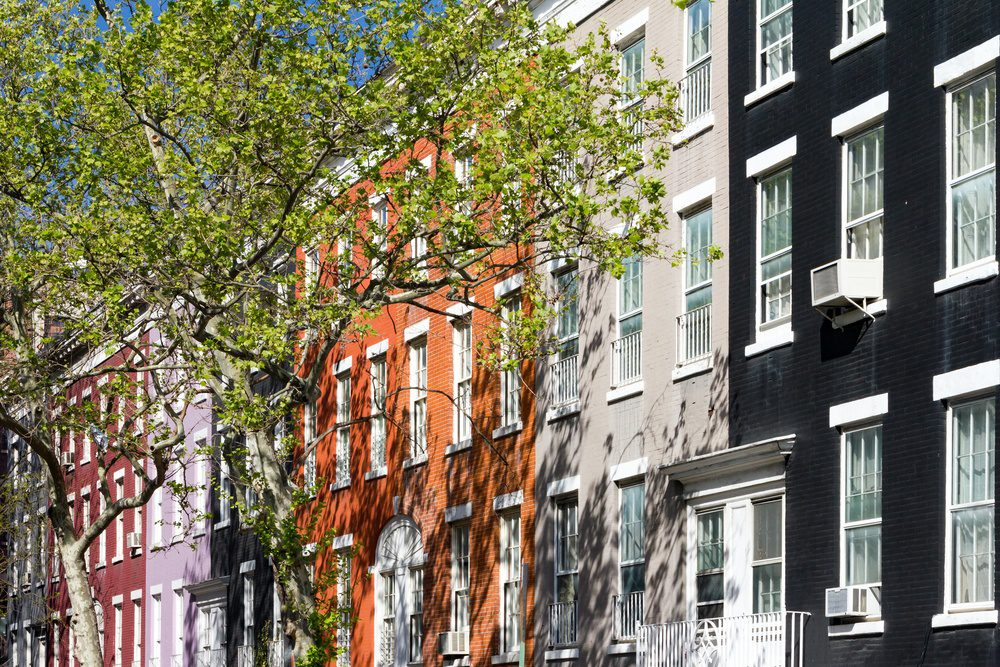 Block of colorful buildings on historic Macdougal Street in Greenwich Village in Manhattan, New York City