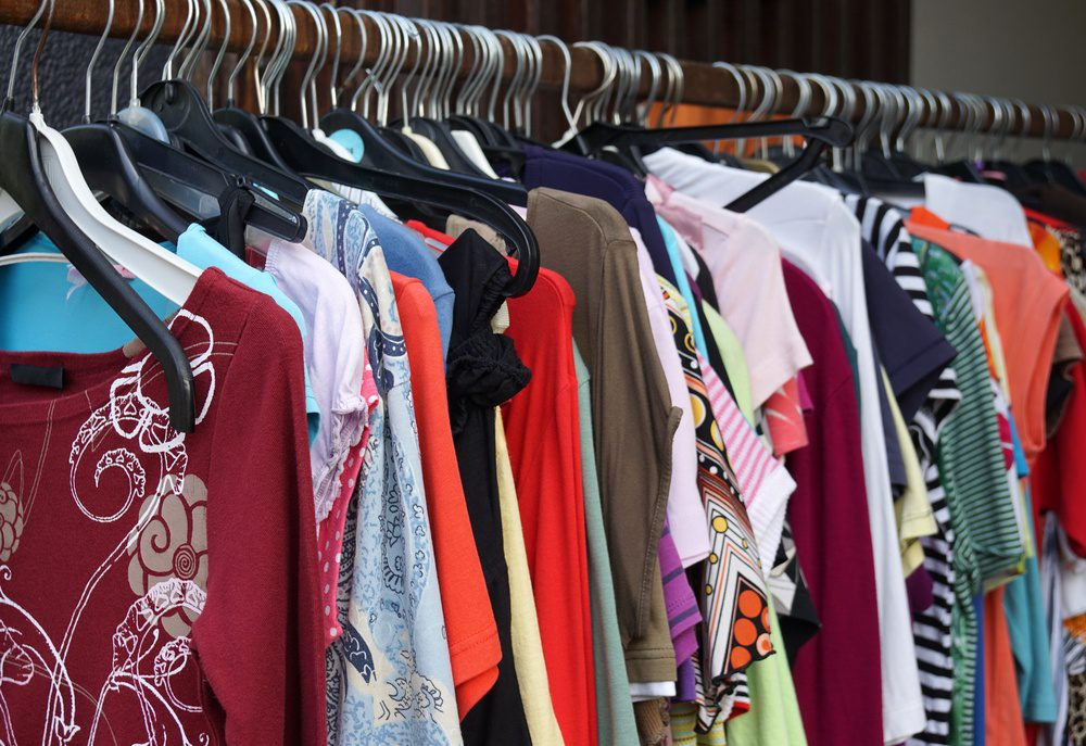 2nd hand sale clothes rack with a selection of fashion for women
