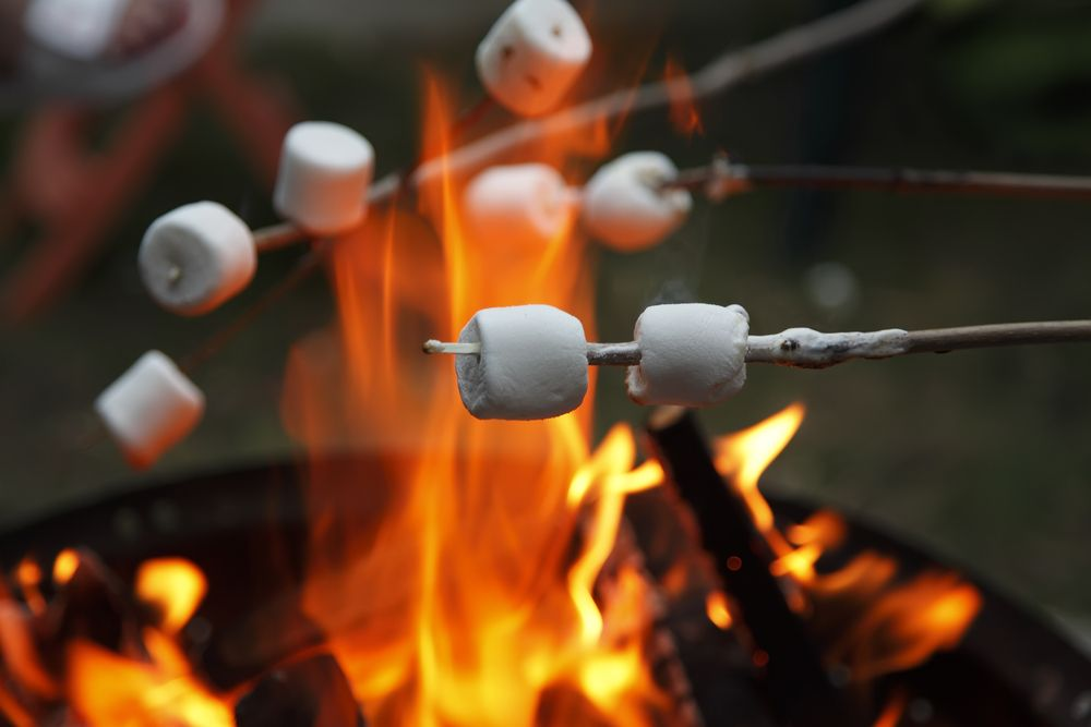 Multiple marshmallows extended over a camp fire to roast.